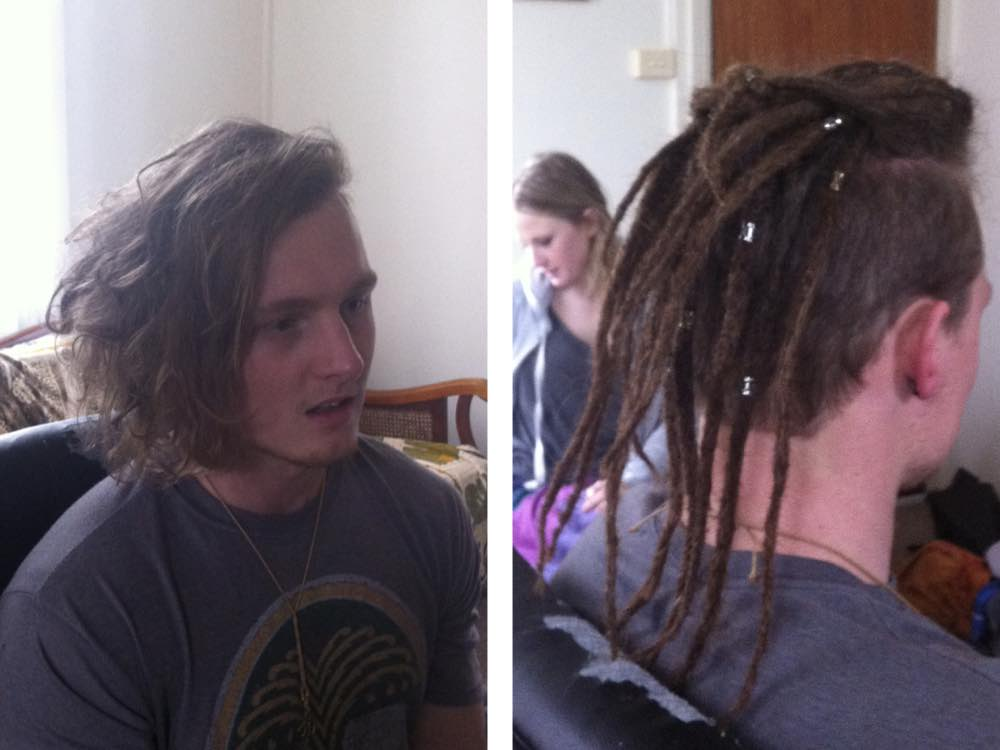 Here's a before & after shot of a client getting his dreadhawk done.