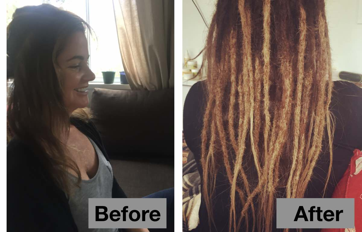 Before and After Dreadlock Extensions