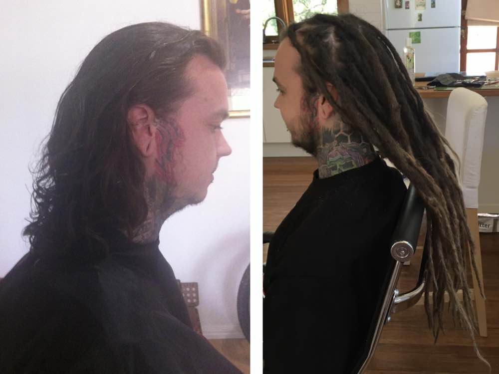 This dreadlocks extensions before and after shot gives you an idea as to just how much length dreadlock extensions can give your hair.