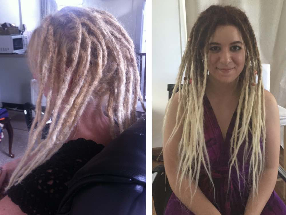 Here we have one client going with dread extensions to match her natural hair colour, while the other opts to contrast her brunette colouring with blonde dreads.