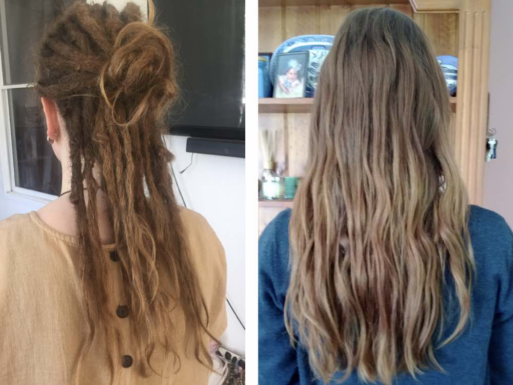 Here the extra body dreadlocks offer allows the client to tie up her dreads for a boho look.
