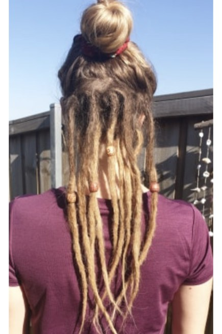 Dreads on bottom half of hair